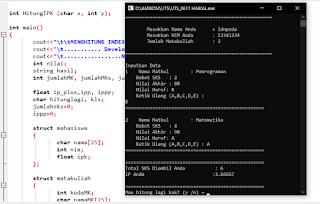 Contoh Program C++ menghitung IPK Mahasiswa